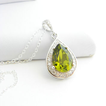Olivine Green Swarovski Necklace, Drop Necklace, Olivine Silver Necklace, CZ Necklace, Green Wedding Jewelry, Green Bridesmaid Necklace