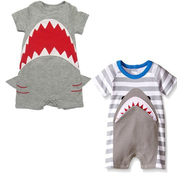 Summer Style Cotton Baby Clothes Cute Infant Baby Rompers Short Sleeve Baby Jumpsuits Cartoon Fashion Shark Printed Costumes