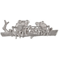 Frog Duo on a Log Pewter Pin