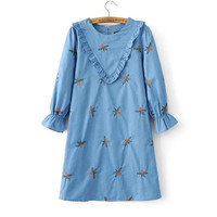 Blue Flower Embroidered Ruffle Dress