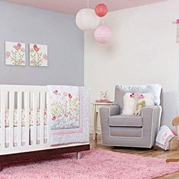 Baby Girl Flower Garden 8pcs Crib Cot Bedding Set with window valance