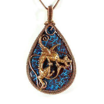 Cobalt Blue Dragon Pendant, Copper Wire Wrapped Jewelry, Golden Dragon Pendant