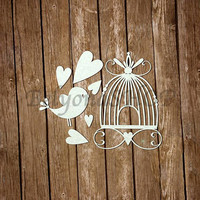Laser Cut Chipboard, Bird in the cage. Craft supplies, paper craft, for party, craft store, craft kits, for kids, heart, love, romantic