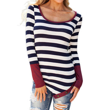 New 2016 Autumn Fashion Sexy Women Long Sleeve Striped T Shirt Tops Ladies Casual O Neck Tee Shirts camisetas mujer Cheap Z1