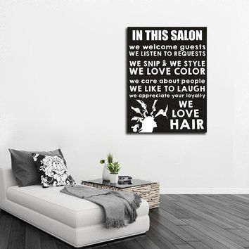 In This Salon Canvas Wall Art, Beauty Salon, Hair Salon, Barber Shop, Salon Decor, Hair Stylist, We Love Hair