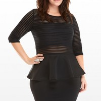 Plus Size Jett Illusion Stripe Peplum Dress | Fashion To Figure