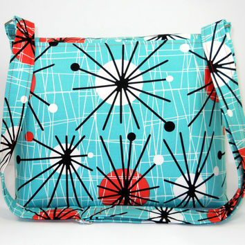 Cross Body Messenger Bag, Medium Fabric Pocketbook, Turquoise Orange Purse - Modern Atomic Print - Long Adjustable Strap - Ready to Ship