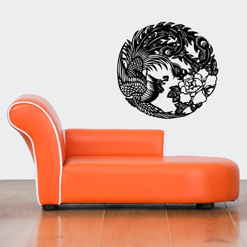 Room Wall Decor Vinyl Sticker Room Decal Art Abstract Peacock With Flowers Bird Phoenix 894
