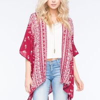 Mixed Print Kimono Wine  In Sizes