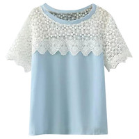 Short Sleeve Crochet Lace Panel Blouse