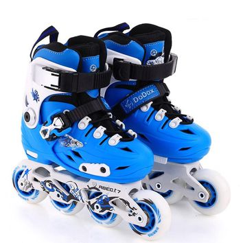 1 Pair Lovely Children Inline Ice Skate Roller Skating Shoes With Brake  Adjustable Washable  PE Aluminum Alloy Stent PU Wheels