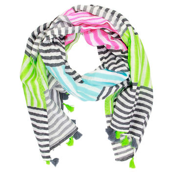 Multi Stripe Tassel Scarf, Black/Multi, Scarves