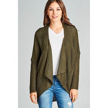 Long sleeve open drape knit sweater cardigan w/ pocket