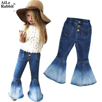 AiLe Rabbit 2017 INS Girls Jeans Popular Horns Denim Pants Fashion Wild Fall Essential Button Ghost Mermaid Children's Clothing