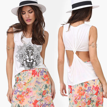 White Elephant Exotic Print Knot Cutout Back Tank Top