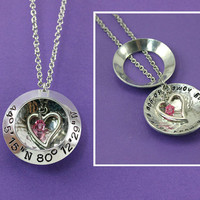 Personalized  Locket Necklace - Handstamped Coordinates Necklace - Latitude Longitude Jewelry