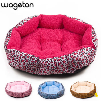Colorful Leopard Print Dog and Cat Bed