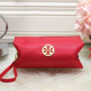 Tory Burch Newest Trending Women Stylish Zipper Toiletry Handbag Cosmetic Bag Purse Wallet Red