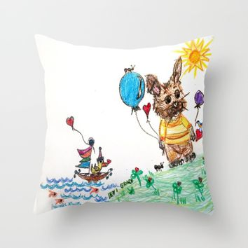 ::  Honey Rabbit on the Knoll :: Throw Pillow by :: GaleStorm Artworks ::