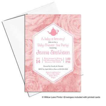Baby shower tea party invitation pink | floral baby shower invite girls | tea party invites roses | printable or printed - WLP00762
