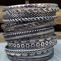 Antique Rhodium Bangle Set