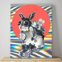 Time Traveler Canvas Print, Funny Animal Wall Art, Cute Bunny Canvas For Home Decor