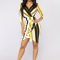 Mayra Striped Midi Dress - Mustard Multi