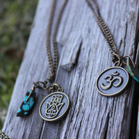 Antique Brass Charm Necklace with Turquoise or Amethyst, Hamsa hand, ohm symbol, and the evil eye