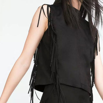 BlackTassel  Faux Suede Leather Sleeveless Shirt