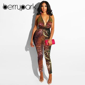 BerryPark High Street High Quality Colorful Glitter Sequin Jumpsuit 2019 Winter Women Sexy Deep V Neck Backless Bandage Rompers