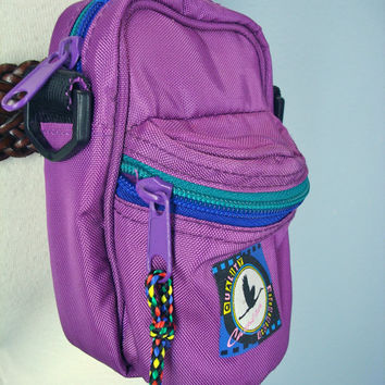 80s Fanny Pack Camera Phone Holder Purple Pink Padded