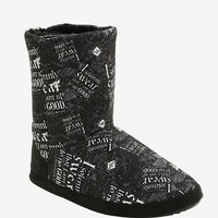 Harry Potter Black Marauders Map Slipper Boots