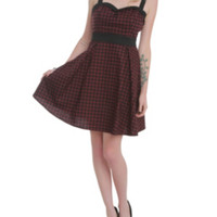Burgundy And Black Gingham Dress