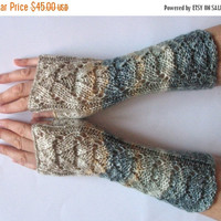 Fingerless Gloves Mittens Blue Green Beige Milk White Cream Gray Wrist Warmers Knit