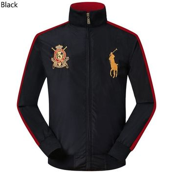 POLO RALPH LAUREN 2018 new trend men's breathable casual embroidery logo stand collar jacket Black