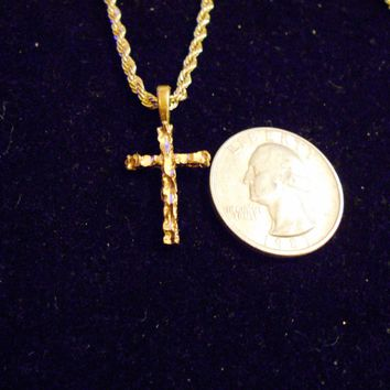 bling 14kt yellow gold plated god jesus religious christian small nugget cross crucifix pendant charm 24 inch rope chain trendy fashion necklace jewelry hip hop