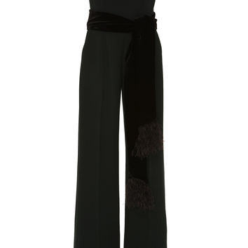 M'O Exclusive Off-The-Shoulder Feather-Embellished Crepe Jumpsuit | Moda Operandi