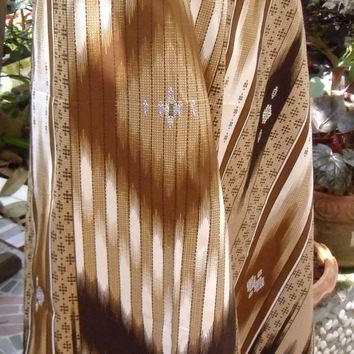 man's sarong 2 tone brown and cream with purple edging  MA10
