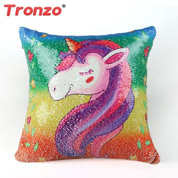 Tronzo 40*40cm Cute Colorful Unicorn Plush Pillow Case Soft And High Quality Rainbow Cushion Cover Gift For Girls Drop Shipping