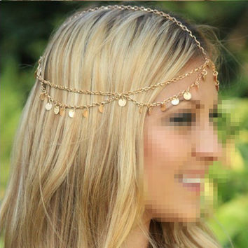 Metallic Circle Sequins Tassel Head Chain 2016 Women Fashion Elegant Head Piece Hair Accessories Boho Head Chain Hair Jewelry