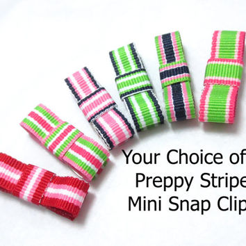Baby Hair Clips, Newborn Toddler, 6 Pack Preppy Stripe Color Snap Clip Tuxedo Bows with Non Slip Grip
