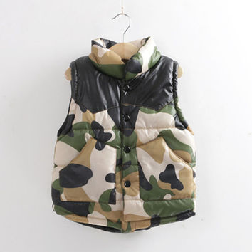 New Camouflage Boys vest Children's quilted clothes baby Kids vest coat all for children clothing and accessories