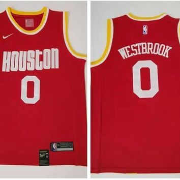 Nike Houston Rockets #0 Russell Westbrook Throwback Jersey Red