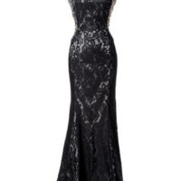 KC131522 Black Jeweled Lace Cap Sleeve Dress by Kari Chang Couture