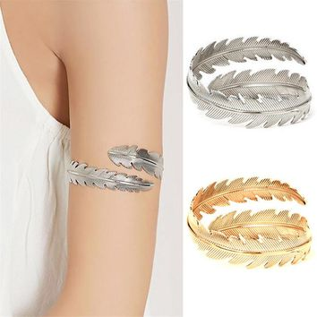 Vintage Silver Gold Color Leaf Feather Swirl Snake Arm Cuff Armlet Armband Big Bangle For Women Bracelet Jewelry