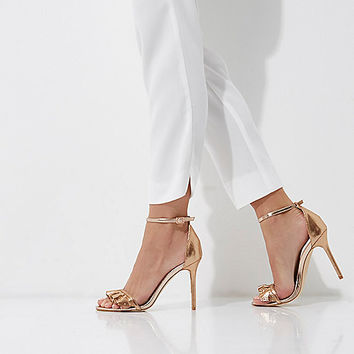 Gold wide fit frill barely there sandals - Sandals - Shoes & Boots - women