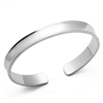 ON SALE - Smooth Concave Silver Cuff Bangle Bracelet