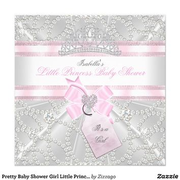 Pretty Baby Shower Girl Little Princess Diamonds Invite from Zazzle.com