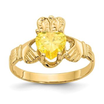 14K Yellow Gold November Birthstone Claddagh Ring