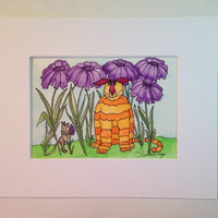 "Painting of Cat, Watercolor, Original, Orange Tabby and a Very Forward Little Mouse in the Purple Daisies,""Cat Tails"" #13,  Not a Print"